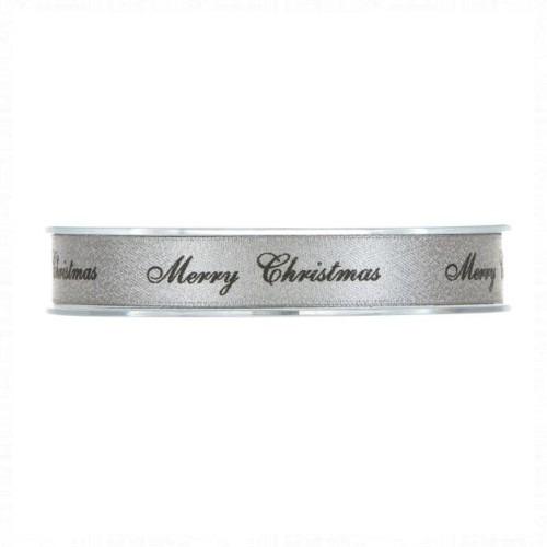 Ezüst Merry Christmas szalag 20m