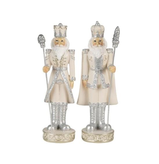 Ezüst-fehér ruhás diótörőszett 2 db-os