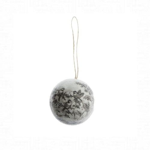 Glitteres gömb cinegével 8 cm