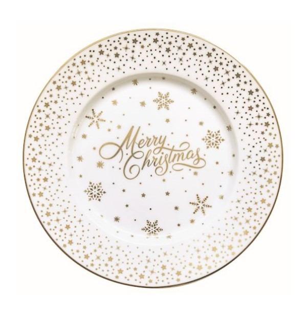 Golden Christmas porcelán desszerttányér