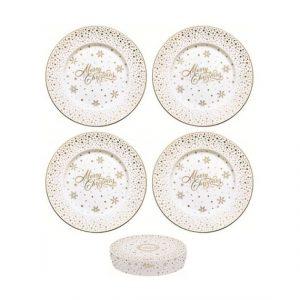 Golden Christmas porcelán desszerttányérszett 4 db-os