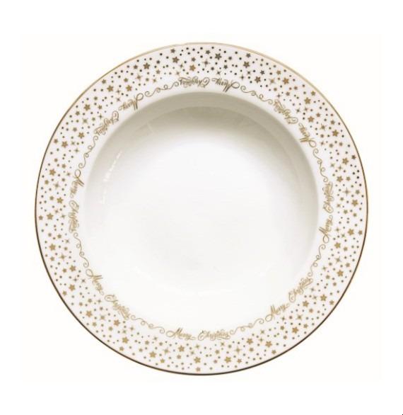 Golden Christmas porcelán mélytányér