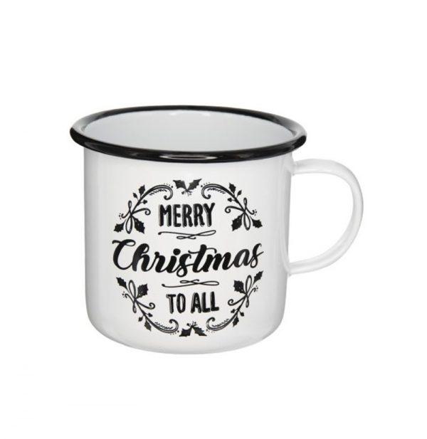 Karácsonyi Bögre Merry Christmas felirattal fekete-fehér