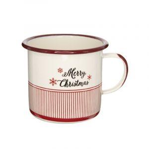 Karácsonyi Bögre Merry Christmas felirattal piros-fehér