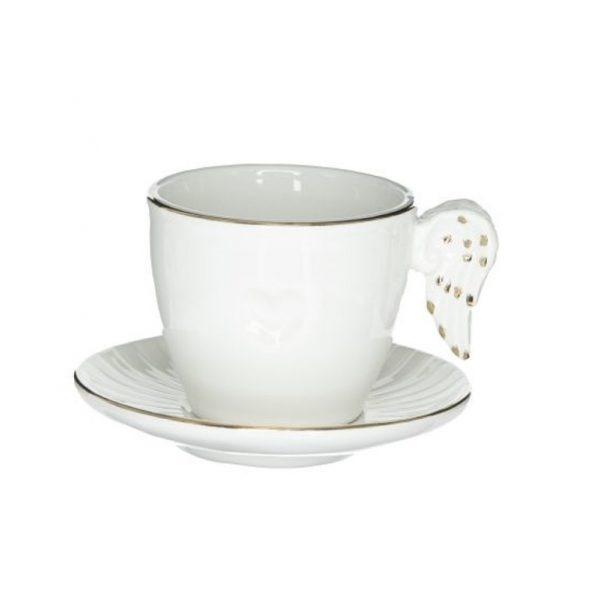 Karácsonyi angyalszárnyas csésze alátéttel