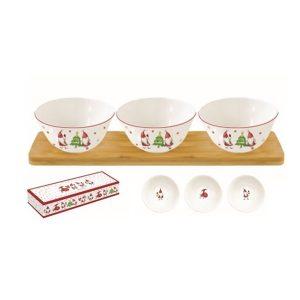 Karácsonyi manók porcelán 3db-os tálkaszett akácfa tálcán