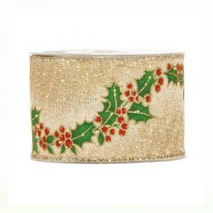Karácsonyi szalag arany fagyöngy mintával 3m-10m