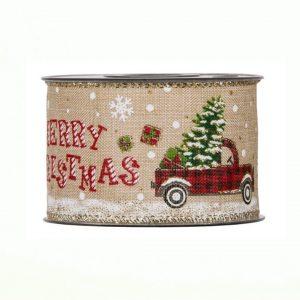 Karácsonyi szalag autó mintával 10m (1)