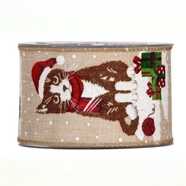 Karácsonyi szalag cicás mintával 10m