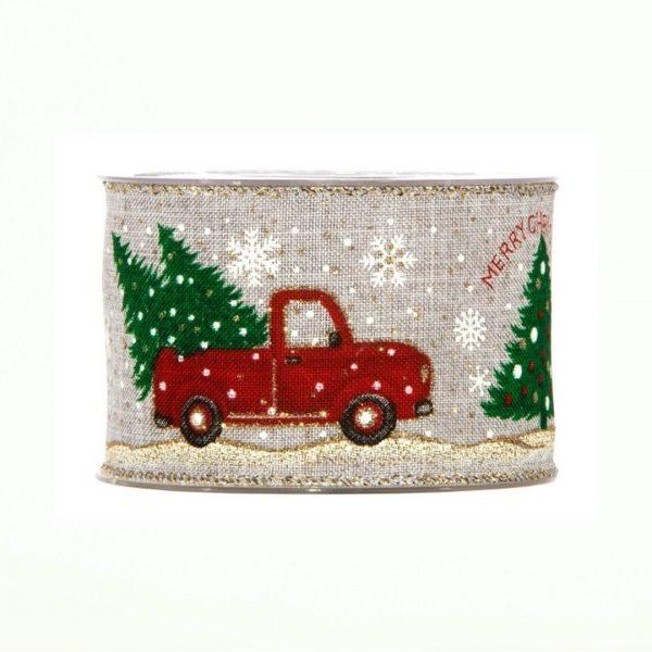 Karácsonyi szalag csillogós autó mintával 10m
