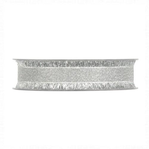 Karácsonyi szalag ezüst 15m