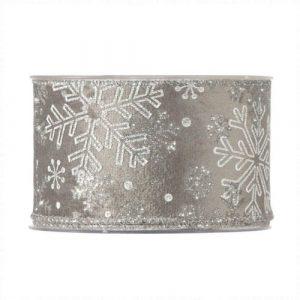 Karácsonyi szalag ezüst hópihe mintával 10m