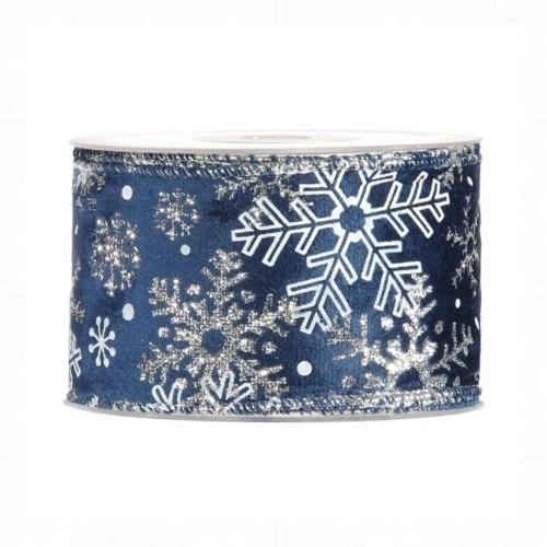 Karácsonyi szalag ezüst-kék hópihés mintával 10m