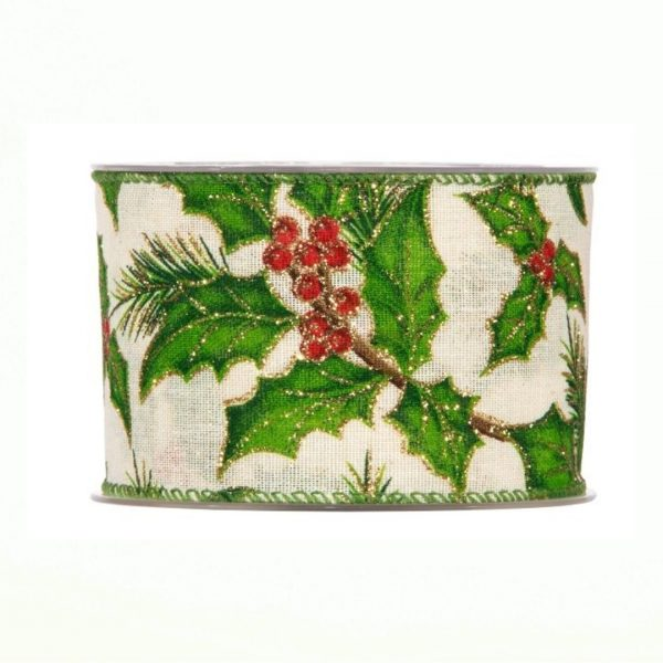 Karácsonyi szalag fagyöngy mintával 10m