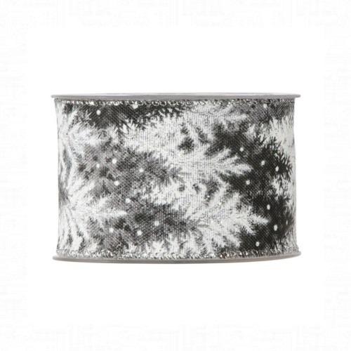 Karácsonyi szalag fekete-fehér fenyőfa mintával 10m
