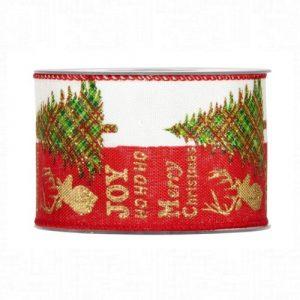 Karácsonyi szalag fenyő, szarvas mintával 10m