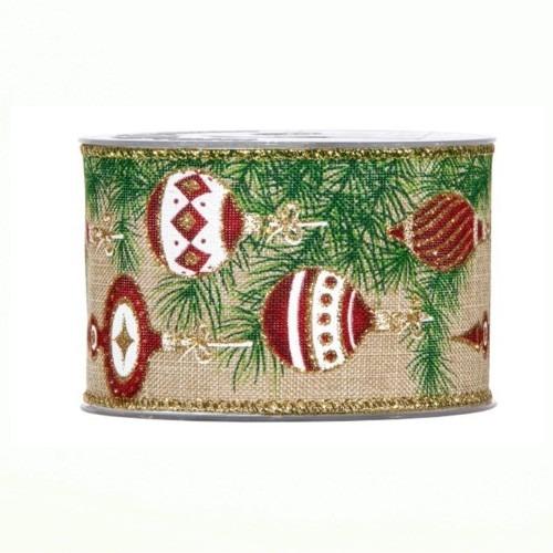 Karácsonyi szalag gömbös mintával 10m
