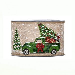 Karácsonyi szalag masnis autó mintával