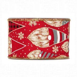 Karácsonyi szalag piros manó mintával 10m