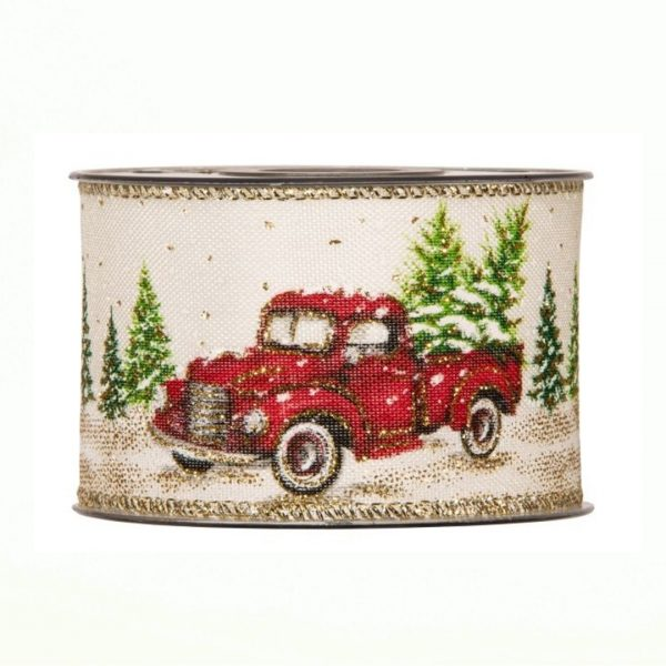 Karácsonyi szalag retro autó mintával 3m-10m