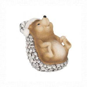 Karácsonyi ülő süni sapkában 4.8 cm
