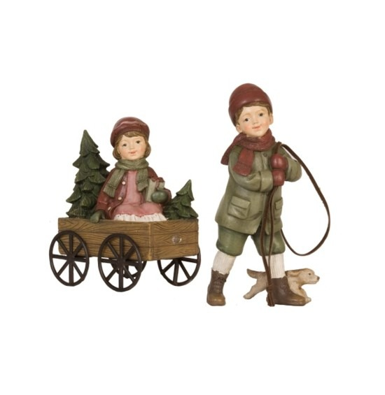 Nosztalgia figura kislány és kisfiú szekérrel