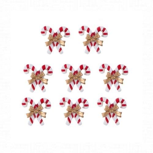 Öntapadós nyalóka fehér-piros 8 darabos