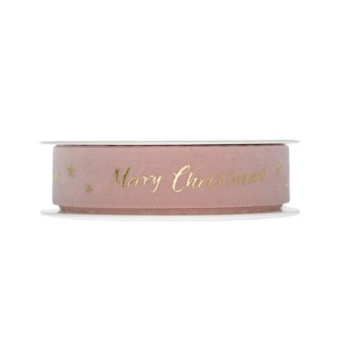 Rózsaszín Merry Christmas szalag 20m