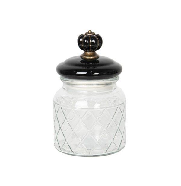 Tárolóüveg fekete kerámiatetővel 0.6l