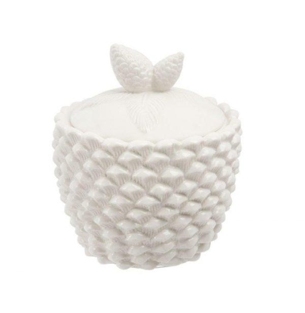 Toboz mintás Porcelántároló fehér 14x16cm