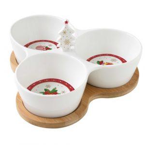 Christmas Ornaments porcelán 3 részes kínálótálka