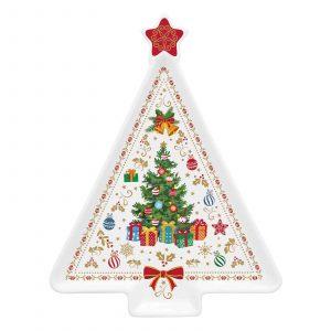 Christmas Ornaments porcelán fenyőtálca