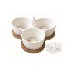 Golden Christmas Kínálótálka 3 részes porcelán bambusztálcán